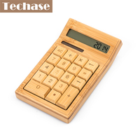 Bamboo Solar Calculator Power Wooden Mini Calculadora Cientifica 12 Digits Automatically Powers Off Natural Handcraft Unique