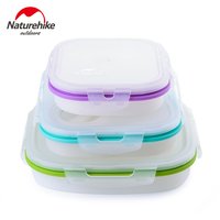 Naturehike Foldable Silicone Food Boxes Portable Outdoor Picnic Sealed Easy Clean Meal Container Food Grade Lunch Box