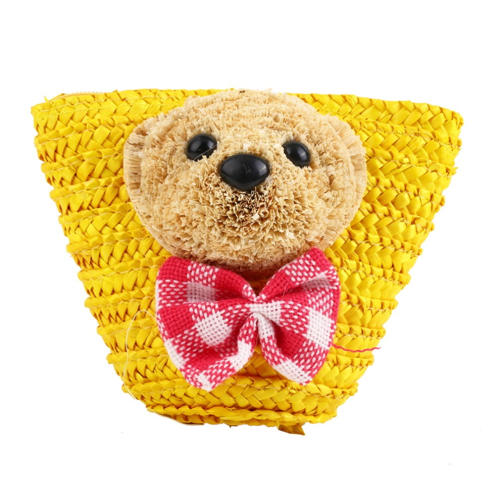 Small Bear Handmade Straw Phone Bag Coin Purse Money Beach Messenger Shoulder Bag Women bolsa feminina