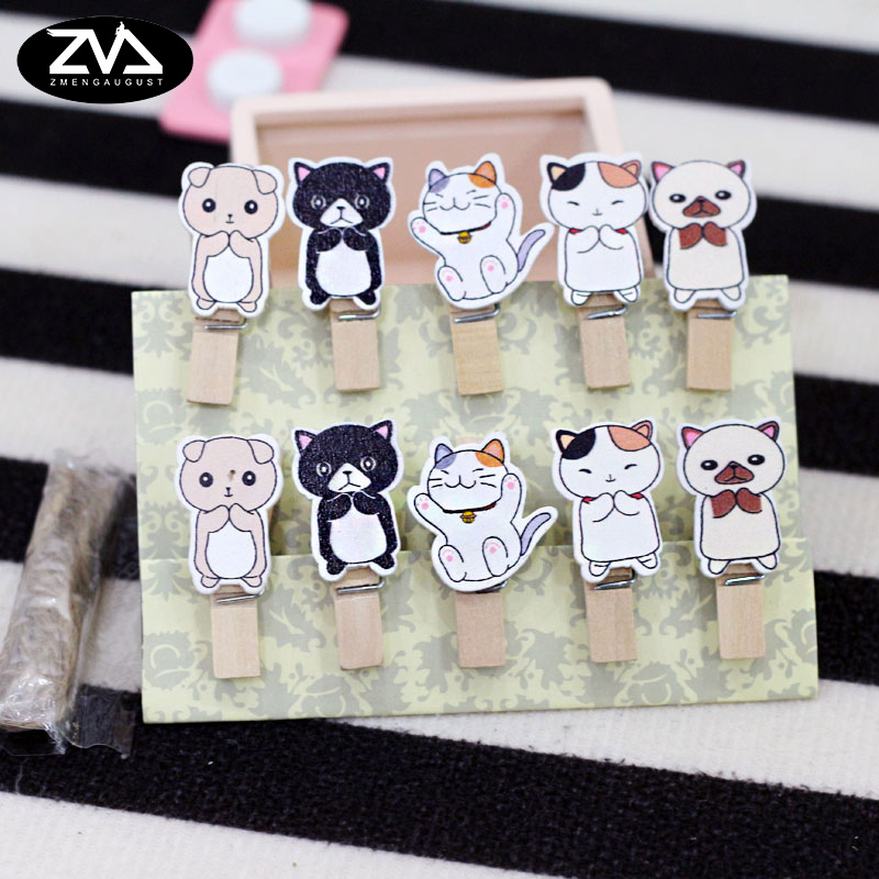 10Pcs/lots Korean Kawaii Stand A Cat Clip Photo Paper Postcard Craft DIY Decoration Clips Office Binding Supplies Stationer