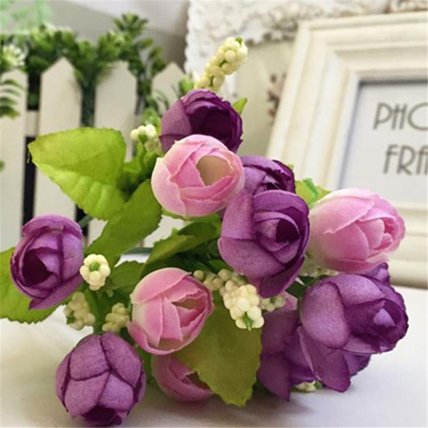 Fancy 1 Bouquet 15 Heads 7 Branches Artificial Faux Silk Sunflower Party Decor