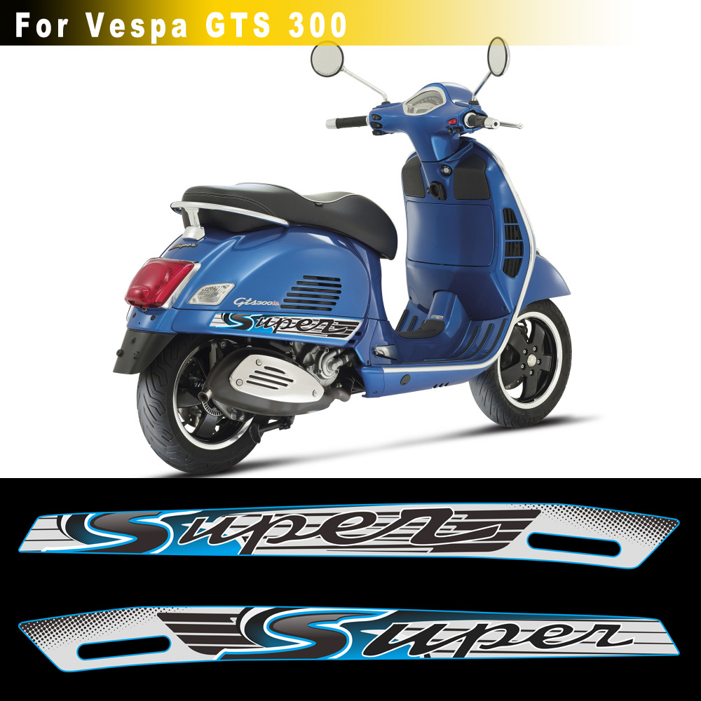 Gray Blue Fits For PIAGGIO Vespa GTS 300 Gts300 Sport Gts Decal Stickers Emblem Super Reflective Stickers  Motorcycle