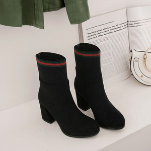Image 2 - Big Size 9 10 15 boots women shoes ankle boots for women ladies boots Matching color round head thick with sleeve