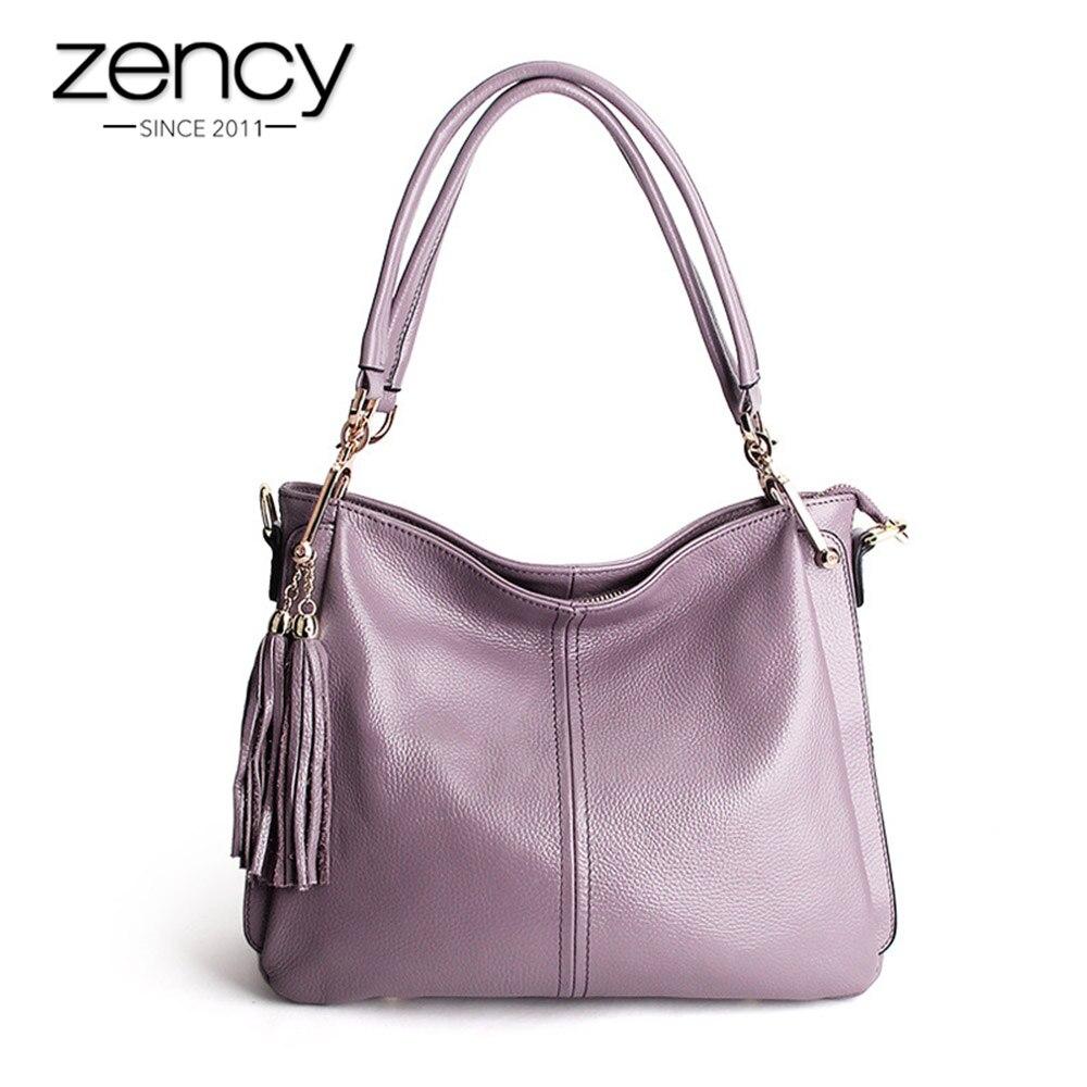 Zency кисточкой Для женщин сумка 100% натуральная кожа сумочка элегантные сумки через плечо Дамы Messenger кошелек Hobos серый черный