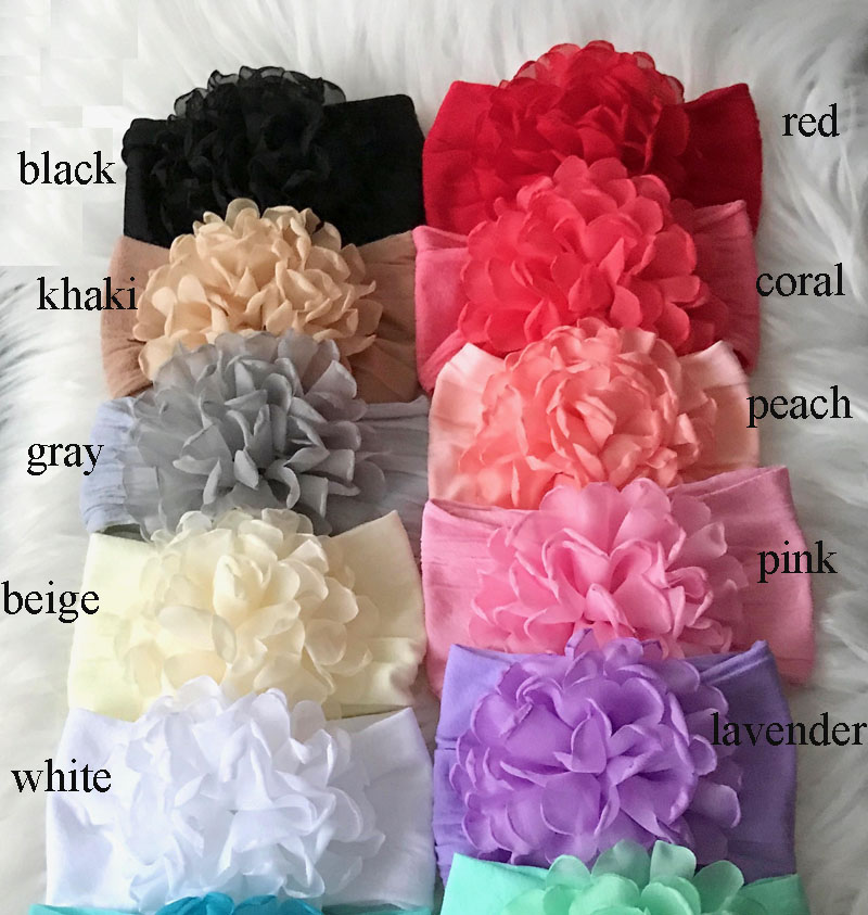 30pc lot Kids Burning Flower With Wide Nylon Headbands Girls Soft Wide Nylon Headbands Children Girls