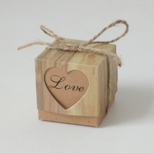 Christmas Candy Box Romantic Heart Kraft Gift Bag With Burlap Twine Chic