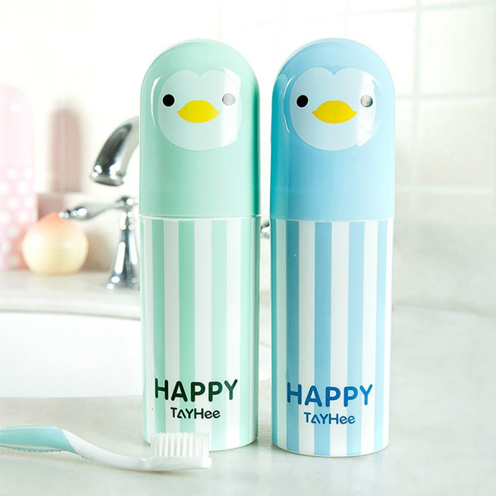 1pc Cute Penguin Plastic Cartoon Toothbrush Cup Portable Travel Toothbrush Holder Sanitary Ware Suit Toothpaste Storage Box LS*D