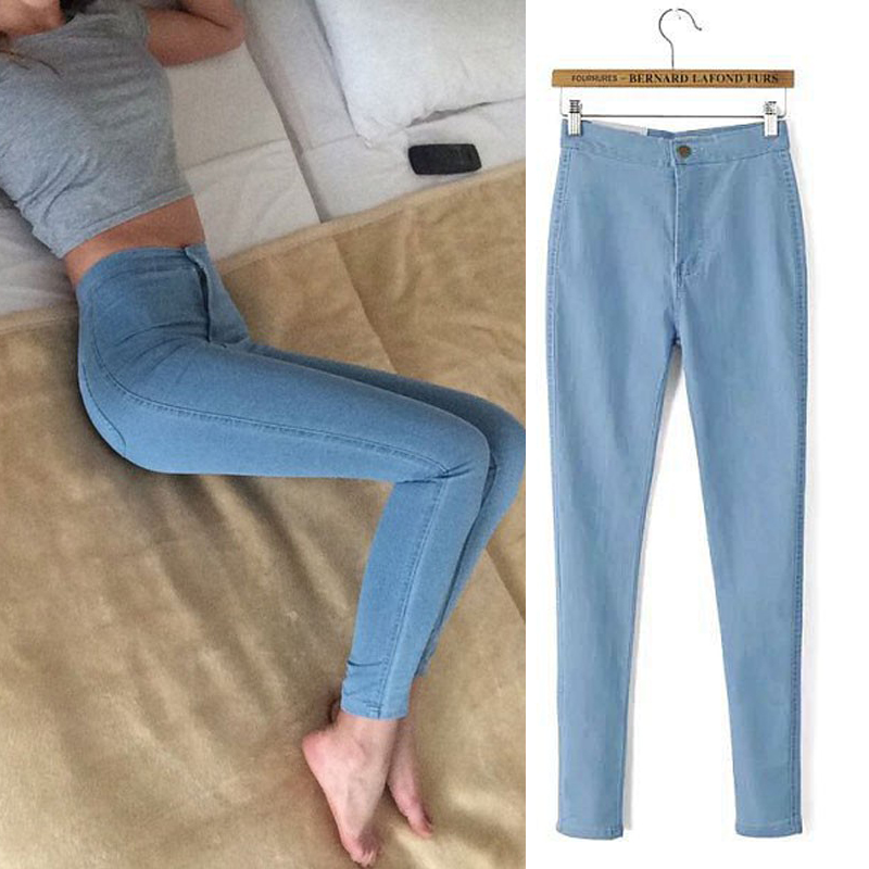 Free shipping Fashion Jeans Women Pencil Pants High Waist Jeans Sexy Slim Elastic Skinny Pants Trousers Female Jeans Plus Size 4xl plus size high waist elastic jeans thin skinny pencil pants sexy slim hip denim pants for women euramerican