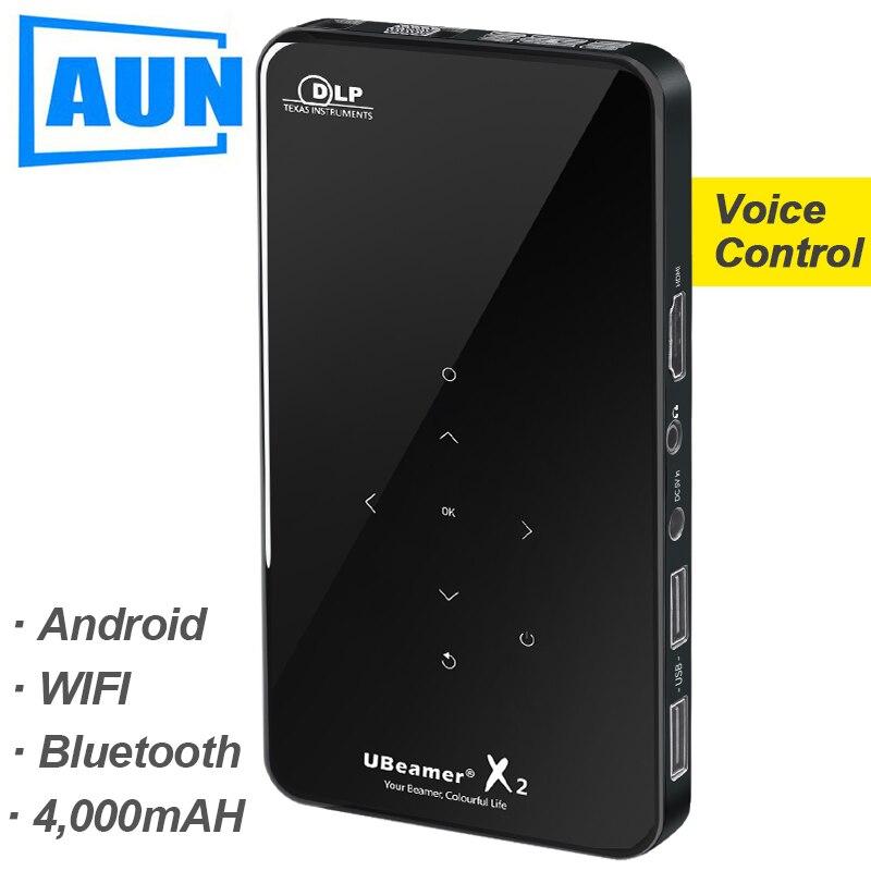 AUN mini projecteur X2, WIFI Android Tactile Contrôle (En Option contrôle vocal, RAM: 2G ROM: 16G) Soutien 1080 P, Portable 3D Home Cinéma