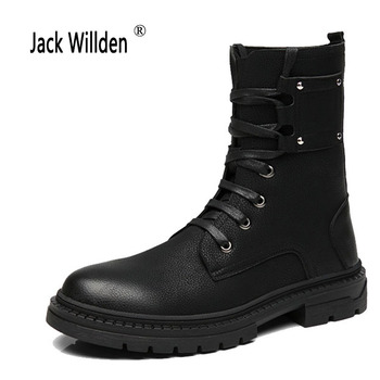 Jack Willden moda botki zimowe jesienne męskie buty motocyklowe Martin buty męskie buty śniegowe buty oksfordzie męskie buty rozmiar 34-44 tanie i dobre opinie Mikrofibra Połowy łydki Okrągły nosek RUBBER Lace-up 180813-2 Wiosna jesień Stałe Pasuje prawda na wymiar weź swój normalny rozmiar