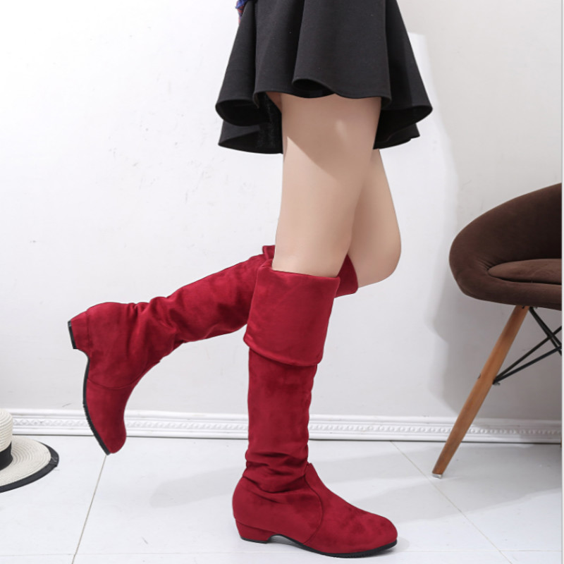 Winter Boots Suede Flocking Mid-Calf Snow Boots Female Warm Fur Plush Botas Mujer Ladies Martins Sock Boots