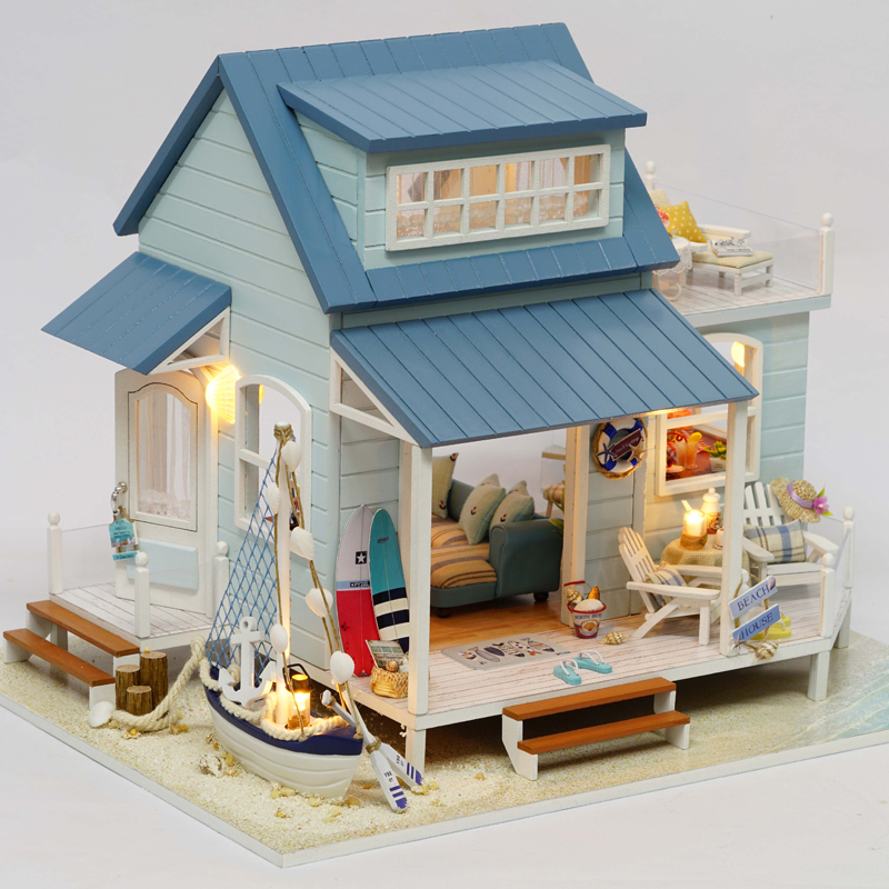 Doll House Miniature DIY Dollhouse With Furnitures 3D Wooden House Handmade Toys Gifts Caribbean Sea A037 #E free shipping the harbor of venice house toy with furnitures assembling diy miniature model kit wooden doll house