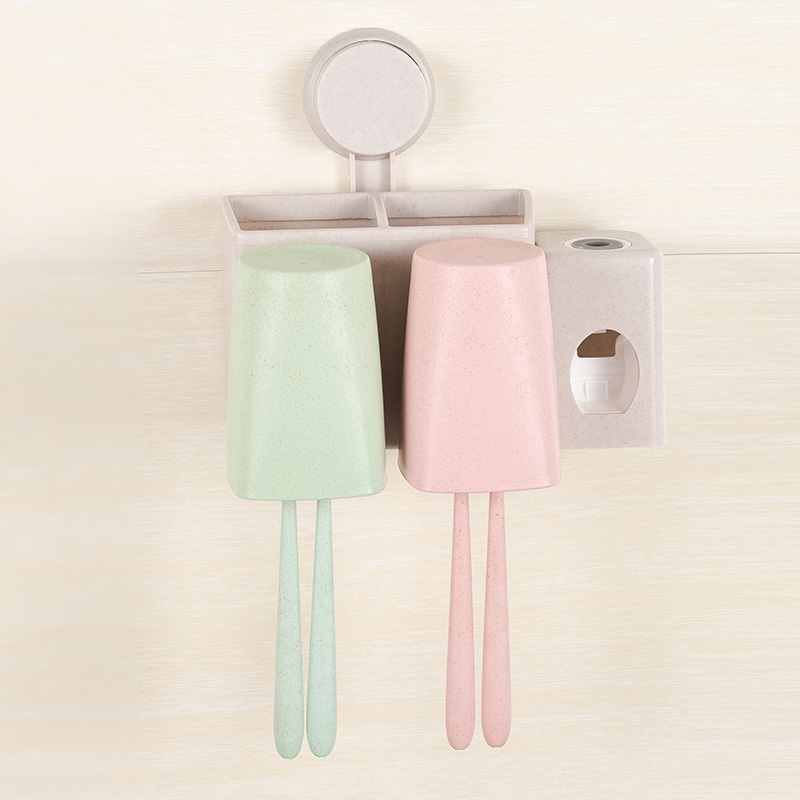 Wheat straw sucker automatic toothpaste dispenser creative suite wall brush cup toothbrush holder Cups