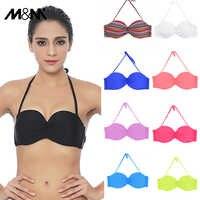M&M Women Push Up Bandeaus Biniki Top Solid Bikini Halter Ruched Print Brazilian Micro Bikinis Sexy Swimwear Tops Sporty BraT601