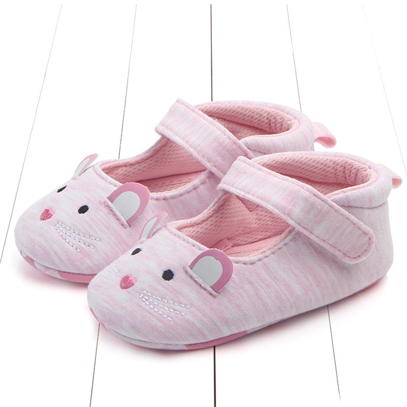 2018 Fashion New Baby Shoes Girls Boy First Walkers Mouse Cat Soft Sole Newborn Shoes 0-18M Baby First Shoes Cute Toddler 2015 fashion toddler shoes first walkers baby lace up flowers sapatos soft sole infants girl shoes