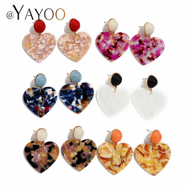 AYAYOO Big Acrylic Earrings Female 2019 Hanging Drop Earrings For Women Vintage Fashion Jewelry Za Heart Earring Brincos