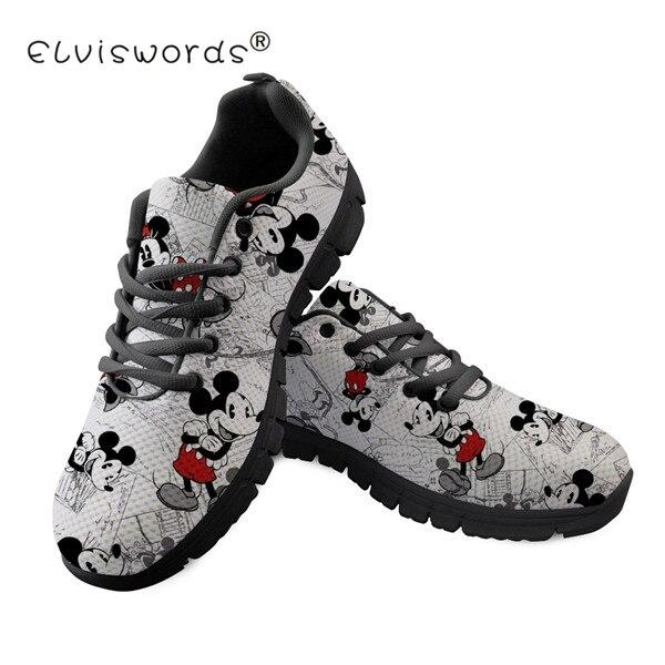 ELVISWORDS Cartoon Cute Mouse Women Sneakers Girls Tenis Feminino Female Casual Shoes Sneakers Fashion Flats Vulcanized Shoes