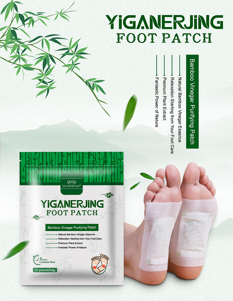 10pcs/bag Detox Foot Patch For Feet Care Cleansing Body Toxins And Improve Sleeping, Natural Bamboo Slimming Detox Foot Patch