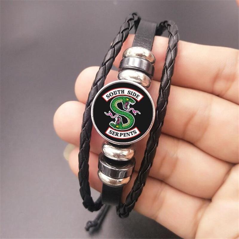 Riverdale Bracelet Jewelry Cosplay Genuine Leather Multilayer Riverdale Pattern Glass Cabochon Charm Beaded Bracelet Bangle