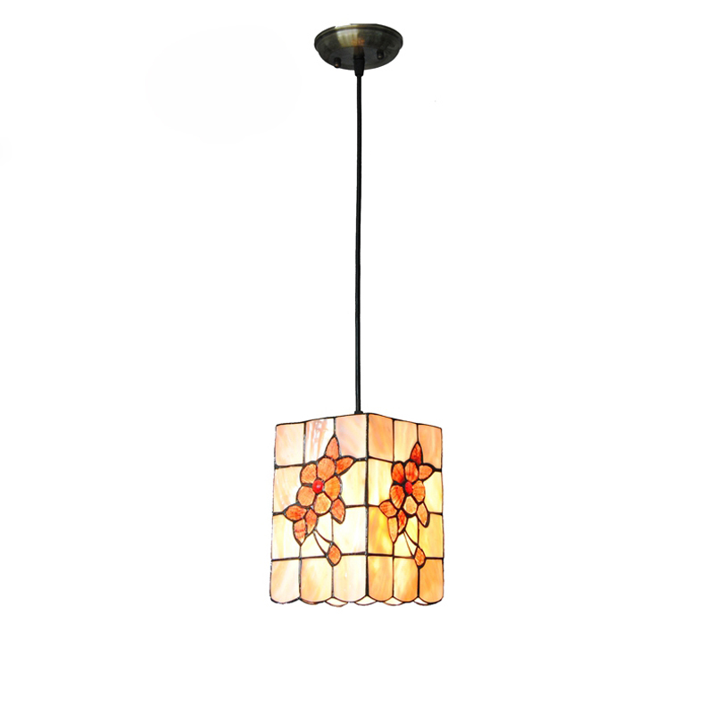 7 Vintage Tiffany Cube Shell Pendant Lamp European Flower Stained Glass Hanging Light Restaurant Aisle Lights Fixture New PL639 5 mediterranean tiffany flower hanging lights vintage stained glass shell bar cafe hallway ceiling lamp fixtures lighting cl254