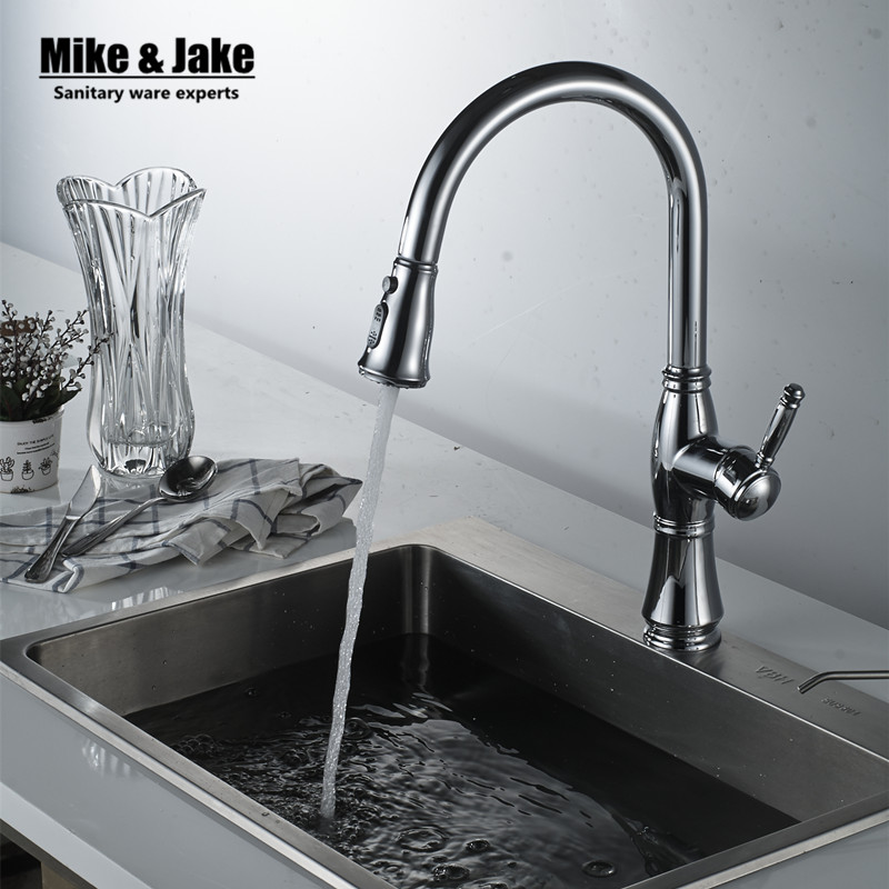 New Arrival Pull out Kitchen faucet Sink mixer Faucet Deck Mount Pull Out Dual Sprayer Nozzle Hot Cold Mixer Water Taps MJD46 gappo kitchen faucet pull out kitchen sink faucet tap single handle cold hot water kitchen torneira deck mount mixer ga1052 2