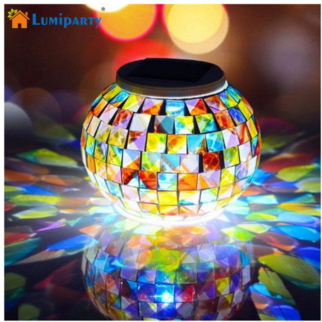 Lumiparty Solar Powered LED Mosaic Glass Ball Lamp Color Changing Solar  Table Lamp Waterproof Solar Light