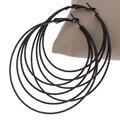 New Arrival Vintage Punk Jewelry Brand Big Round Circle Hoop Earrings 3 Cricles Black Hoop Earrings Women Accessories Earrings
