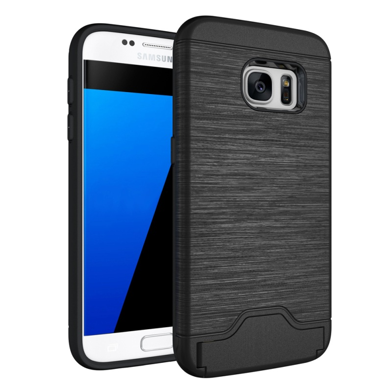 For Galaxy S 7 Hybrid Cover Bag Brushed PC + TPU Hybrid Card Slot Phone Case for Samsung Galaxy S7 SM-G930 with Kickstand