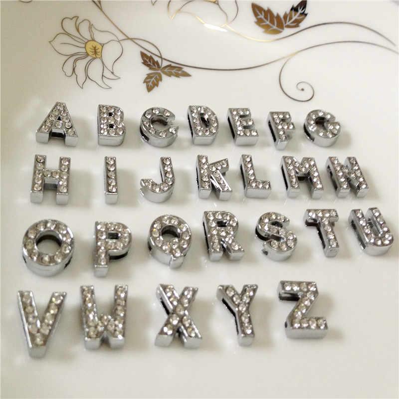 """10 ミリメートル DIY シルバーフルラインストーンスライドの文字「 A-Z """"手紙自由に選択フィット 10 ミリメートル DIY ベルトブレスレット SL02"""