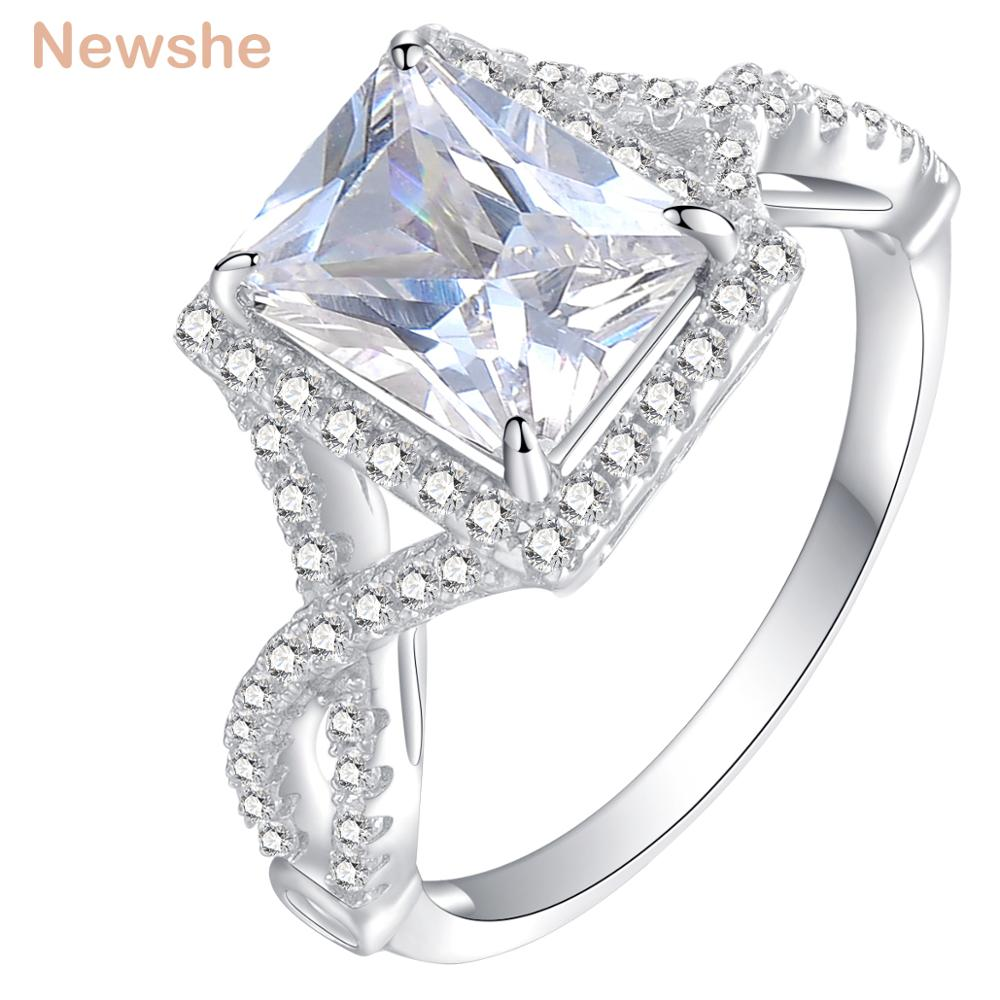 Newshe Princess Cut Wedding Ring Engagement Band 2.36 Ct AAA CZ 925 Sterling Silver Trendy Style Gift Jewelry For Women JR4947 pre-engagement ring