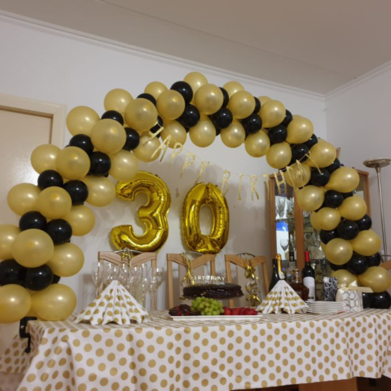 <font><b>30</b></font> 40 50 60 Birthday Party <font><b>Decorations</b></font> Adult Gold Black Number Balloon Birthday Ballonnen <font><b>30</b></font> Years Wedding Anniversary Decor image