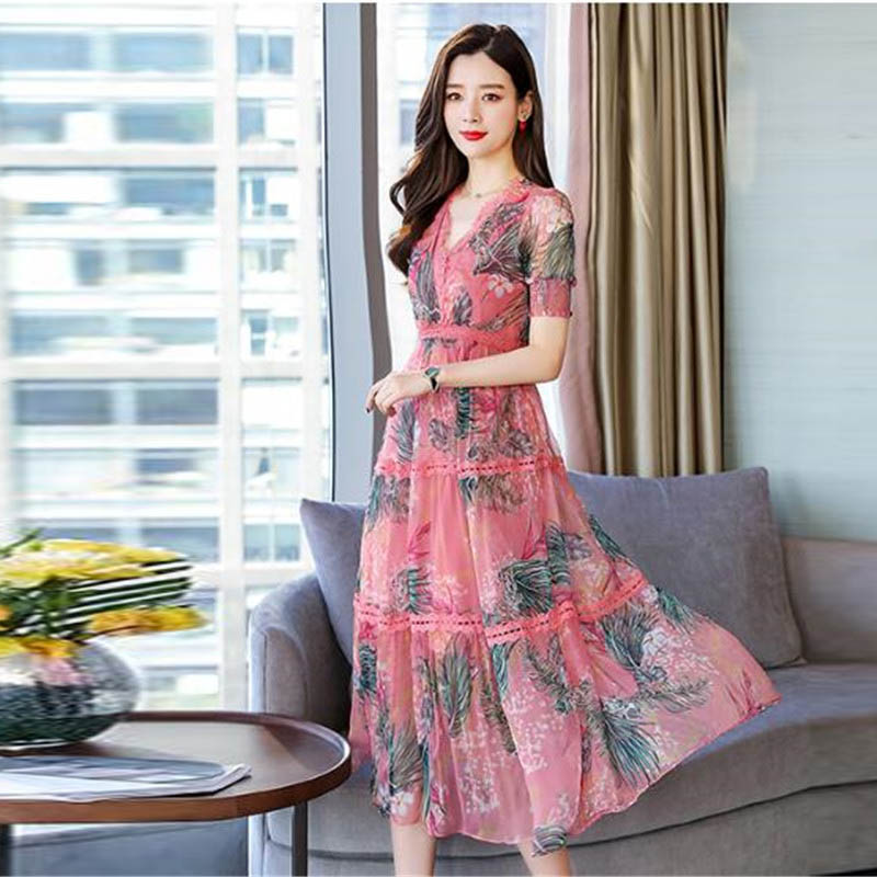 Boutique mode robe en mousseline de soie été 2019 nouveau haut de gamme élégant femmes longue impression robe de soirée femme mince grande balançoire robes A1263