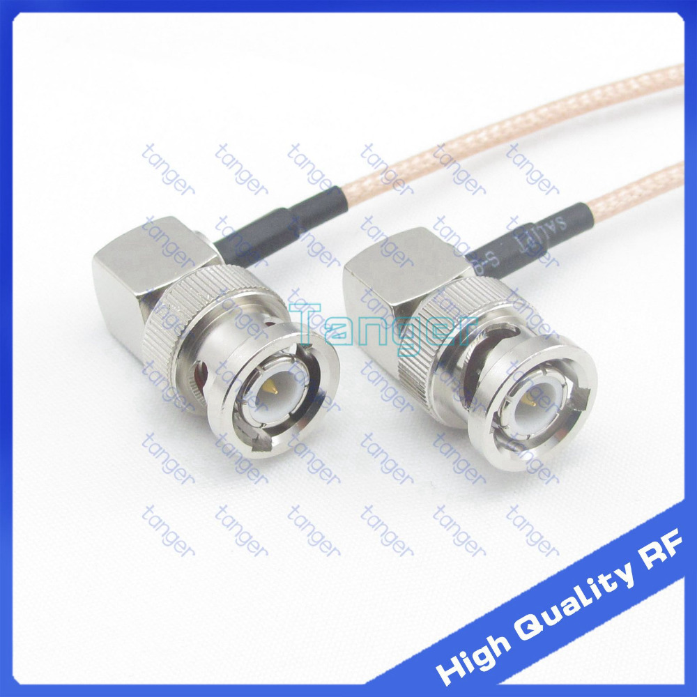 Hot BNC male plug to BNC male plug double right angle 90 degree 20cm 8inch RG316 RF Coaxial Pigtail Low Loss cable high quality bnc plug to bnc plugs elbow sdi pigtail camera rf coaxial cable cable length 50cm