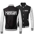 New 2015 Cool Mens Coat Sportswear Black Hiphop Active American Style Manowar Rock Band Printed Boys Baseball Jacket Winter Men