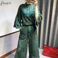 2017 Newest Spring Sexy Hollow Out Lace Women Set Flare Sleeve Single-breasted Top + Ankle-Length Pants Female Sets