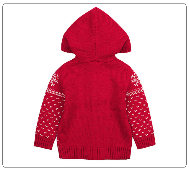 Knitted Boys Sweater Autumn Winter Christmas Deer Toddler Girls Cardigan Hooded Knitting Infant Baby Boys Coat Girls Outerwear