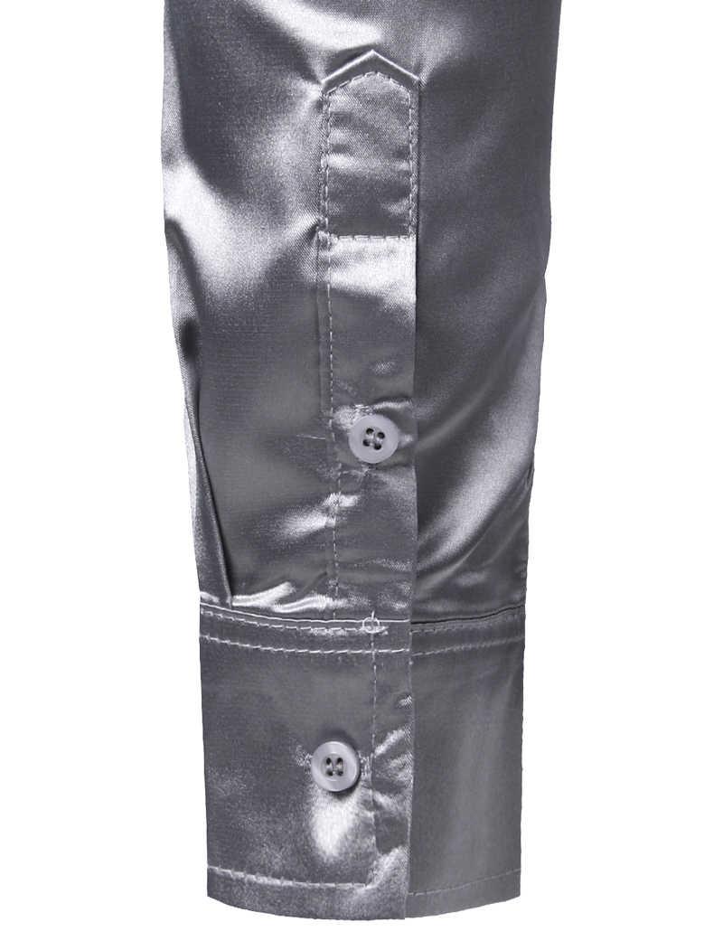 Männer der Splitter Seide Satin Kleid Hemd Mit Krawatte 2019 Marke Slim Fit Taste Unten Casual Hemd Männlichen Party Hochzeit prom Bühne Chemise