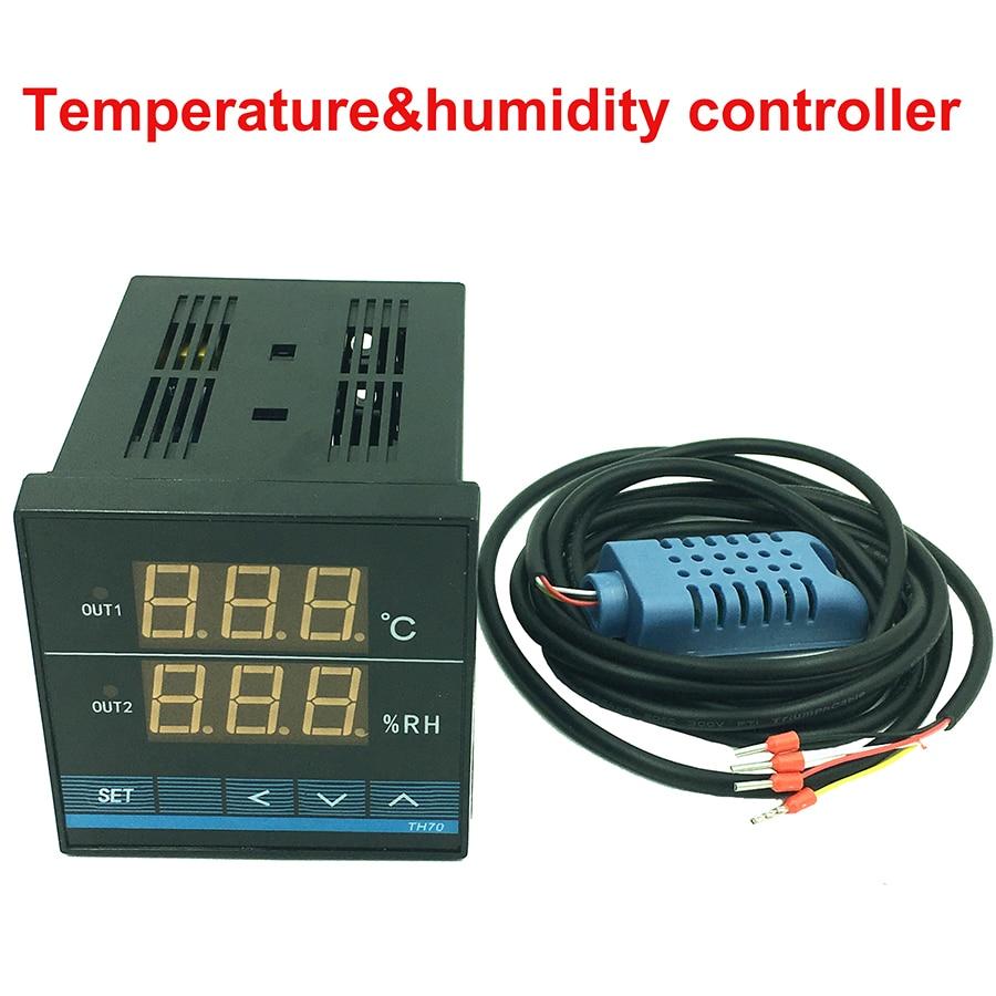 Digital temperature and humidity controller meter tester thermostat Hygrometer Regulator 72X72mm 0-70C 5-90%RH