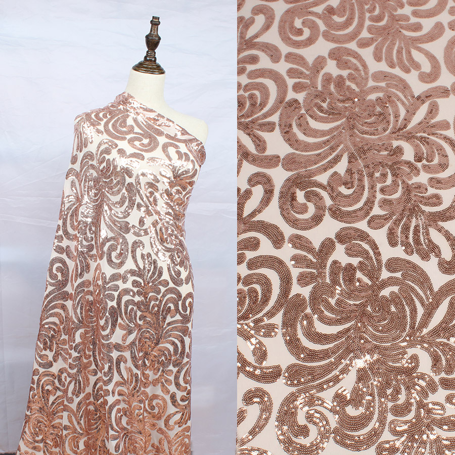BY THE YARD DRESS BRIDAL UNIVERSAL FLORAL SEQUINS STRETCH MESH FABRIC Gold