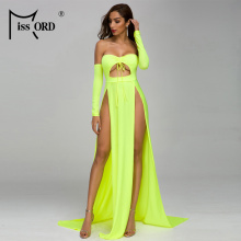 Missord 2020 Women Sexy Off Shouldertwo High Split Dresses Female Maxi Elegant l