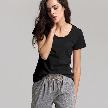 Escalier Women T-Shirt 2018 Hot selling O-Neck Casual Short Sleeve  T- shirts Women Cotton Elastic Basic  Summer Tops 1