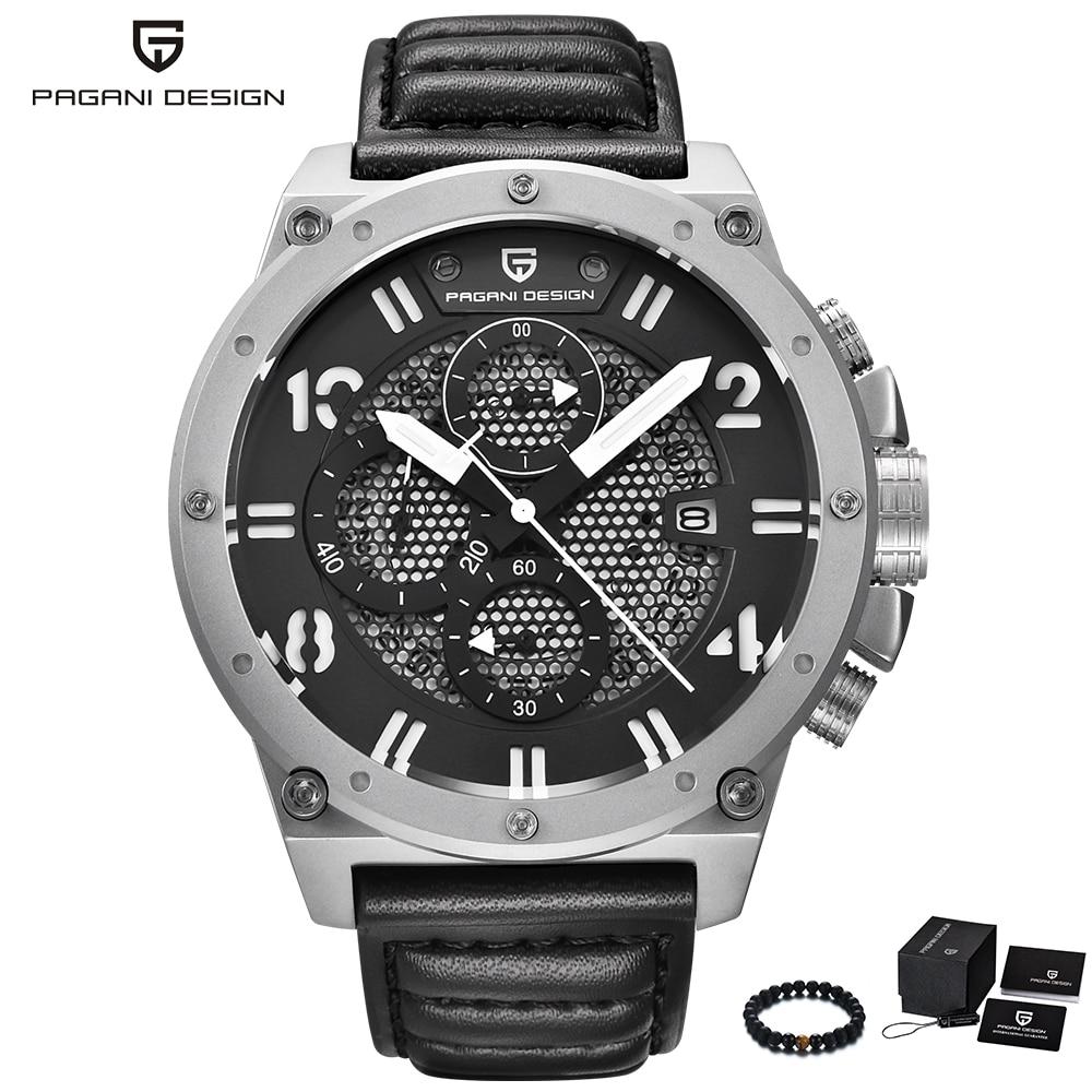 PAGANI Design marque grand cadran Quart montre hommes de luxe en cuir bande chronographe étanche militaire Sport montre poignet reloj hombre