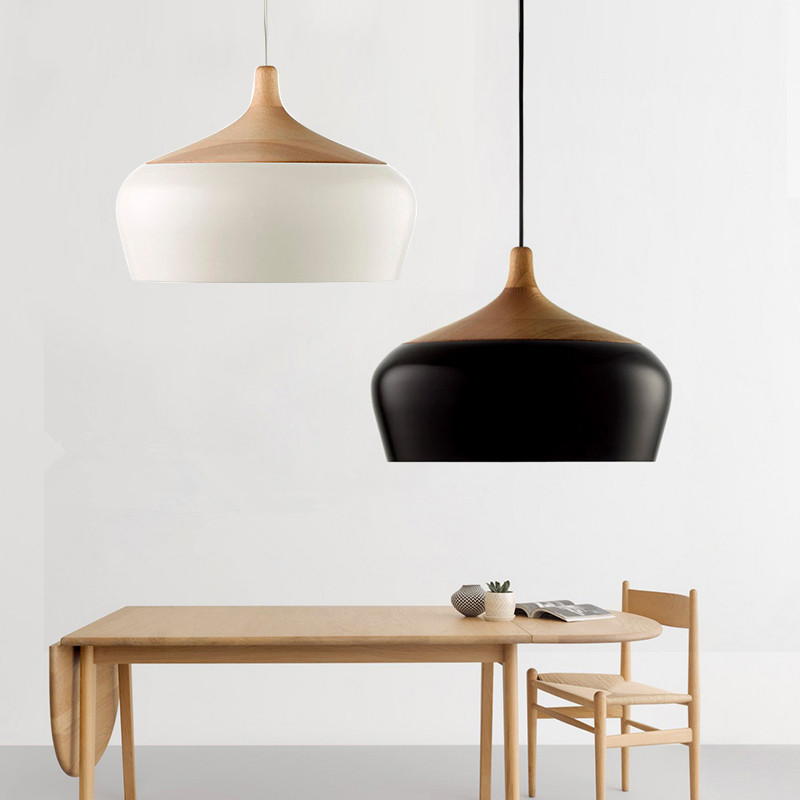 Buy modern aluminum oak wood led pendant for Lampe geweih modern