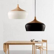 цена Modern lamps pendant lights Wood and aluminum lamp black/ white restaurant bar coffee dining room LED hanging light fixture онлайн в 2017 году