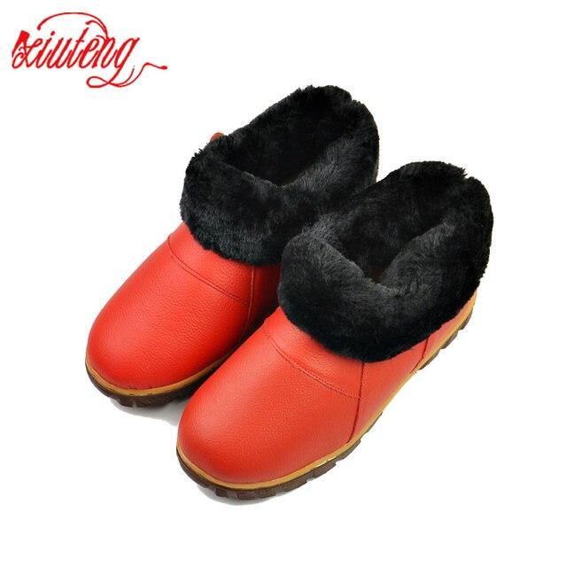 Xiuteng Yüksek Kalite Kış Hakiki Deri Terlik Kadın Sıcak Peluş Terlik Ayakkabı Kapalı düz ayakkabı Womer Inek Deri Terlik