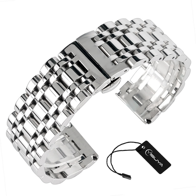 High Quality Hidden Clasp Watchband 20mm 22mm 24mm Stainless Steel Watch Band Men Silver Bracelet Replacement+2 Spring Bars 22mm silver replacement folding clasp with safety shark mesh men watch band strap stainless steel 2 spring bars high quality