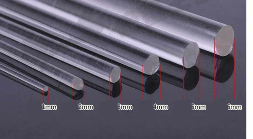 5 Pieces Clear Acrylic PLEXIGLASS Lucite Rod 1mm Diameter 250mm Long