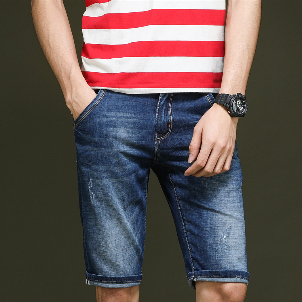 Mens Classic Distressed Short Jeans Brand Clothing Bermuda Summer stretch Cotton Shorts  ...