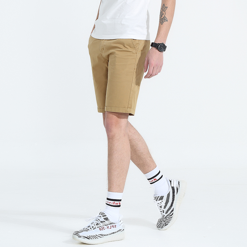 Men Washed Shorts Solid Casual Fashion Business Shorts Knee Length Mens Cotton Joggers Shorts Short Pants Male Bermuda Masculina