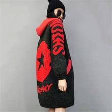 Women Knitted Coat 2019 New Fashion Medium long Sweater Cardigan Autumn Winter Fashion Female Loose Hooded Knitwear Jacket FC103